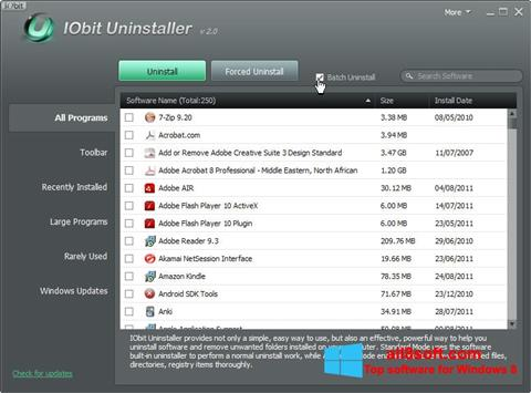 Captura de pantalla IObit Uninstaller para Windows 8