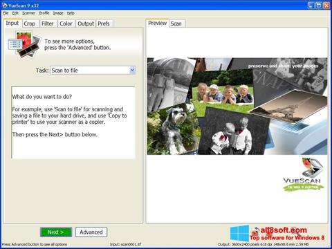 Captura de pantalla VueScan para Windows 8