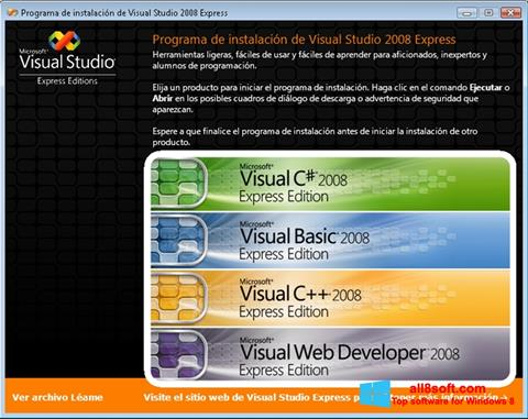Captura de pantalla Microsoft Visual Studio para Windows 8
